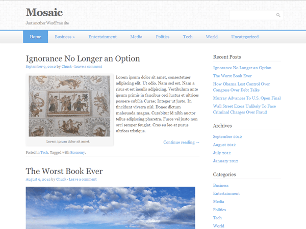 Mosaic free wordpress theme