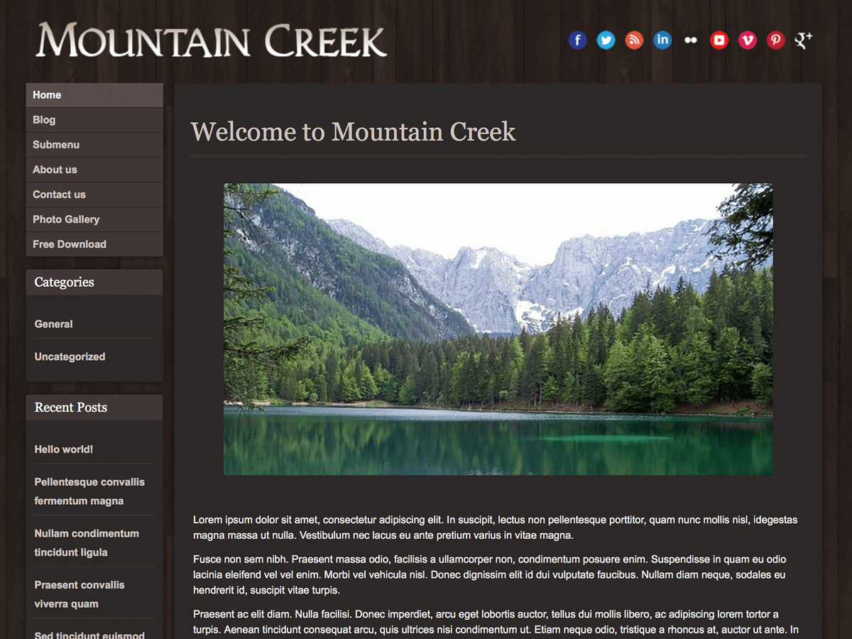 Mountain Creek free wordpress theme