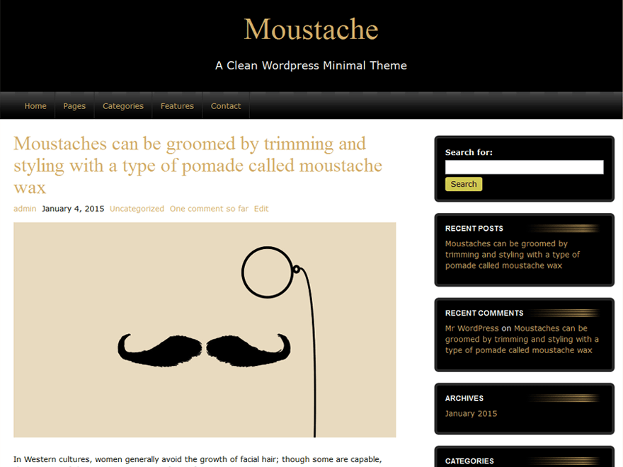 Moustache free wordpress theme
