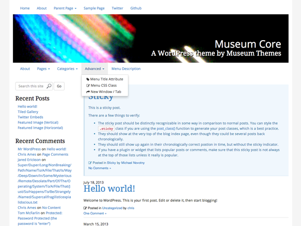 Museum Core free wordpress theme