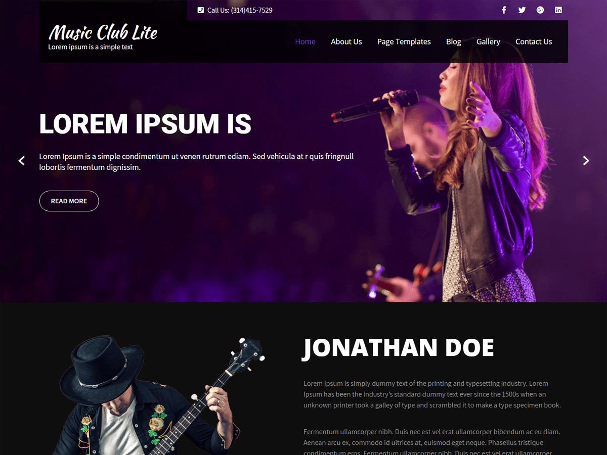 WordPress主题:Music Club Lite