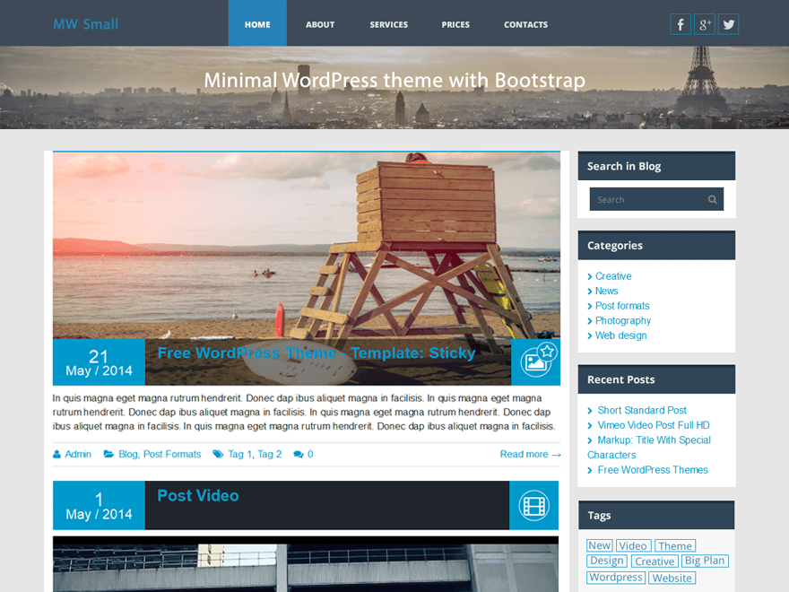 MW Small free wordpress theme