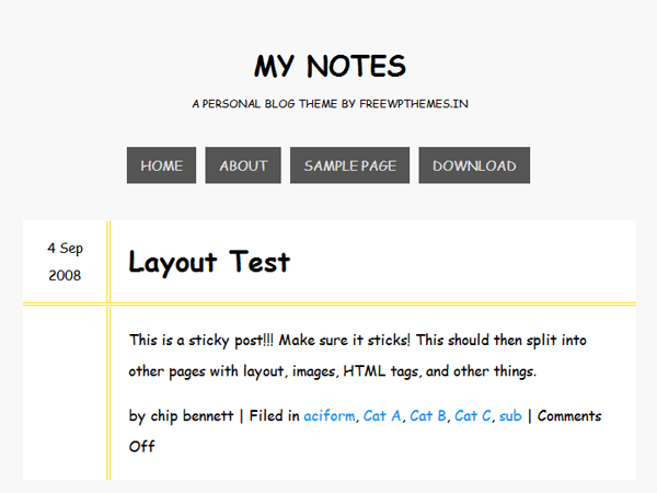 My Notes free wordpress theme