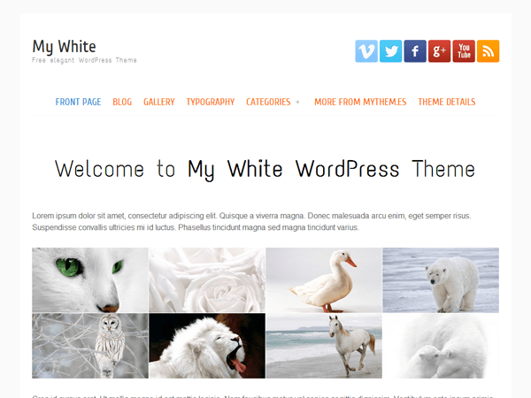 my white free wordpress theme