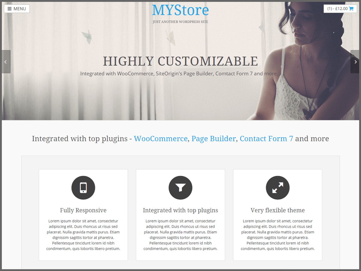 screenshot of MyStore free WooCommerce theme