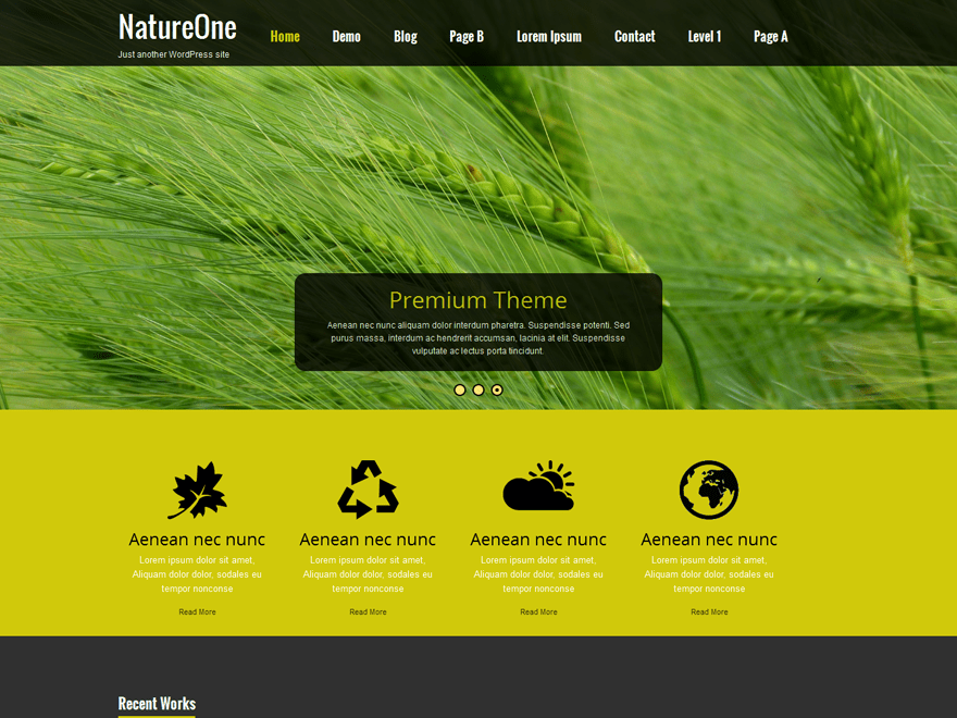 Nature One free wordpress theme