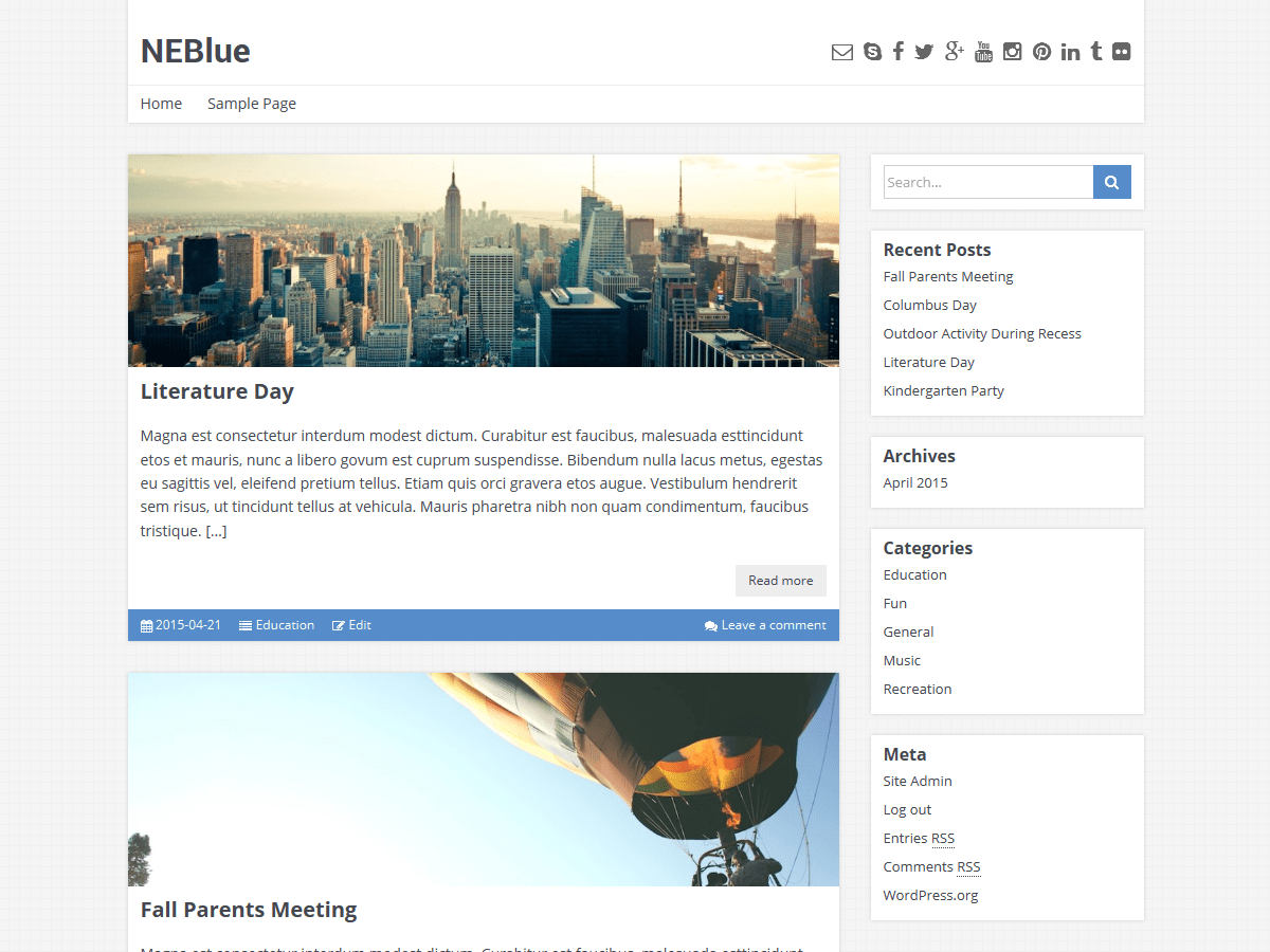 screenshot of neblue wordpress theme