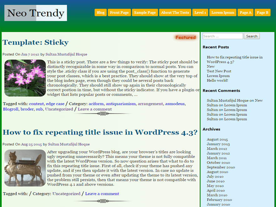 Neo Trendy free wordpress theme