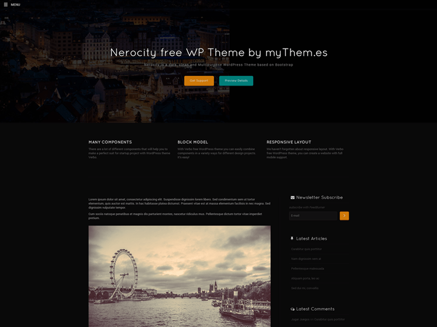 Nerocity free wordpress theme