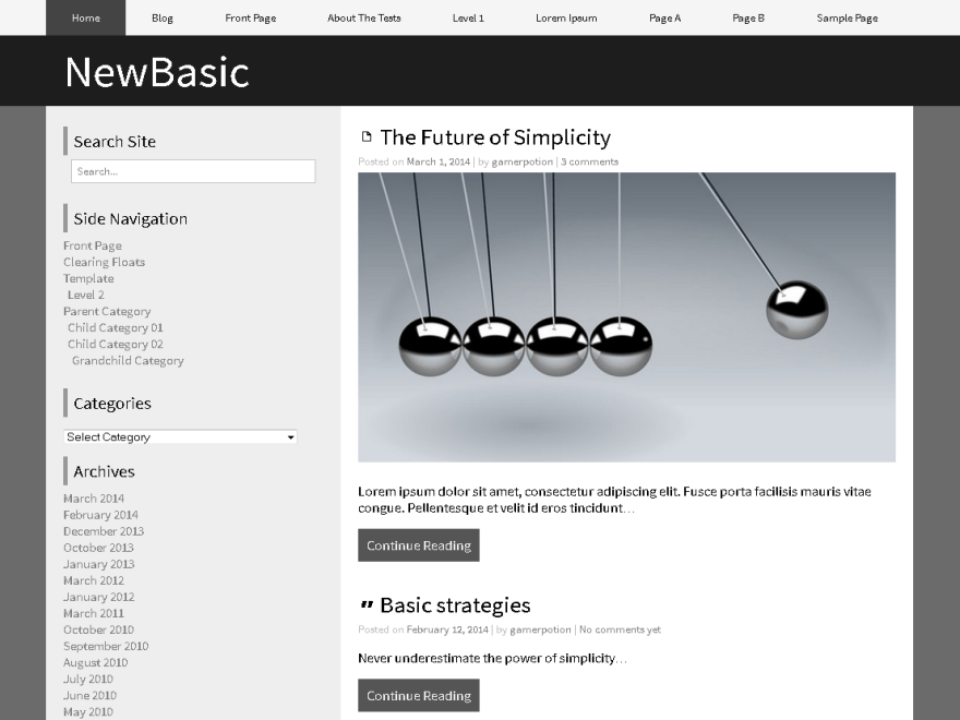 NewBasic free wordpress theme