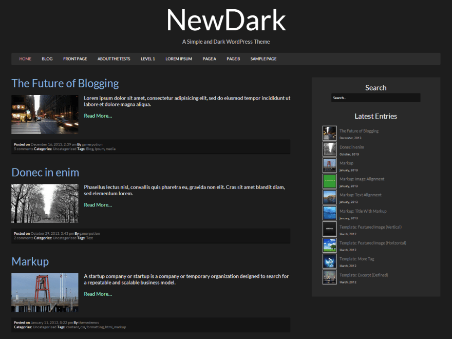 NewDark free wordpress theme