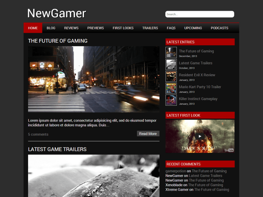 Newgamer wordpress theme