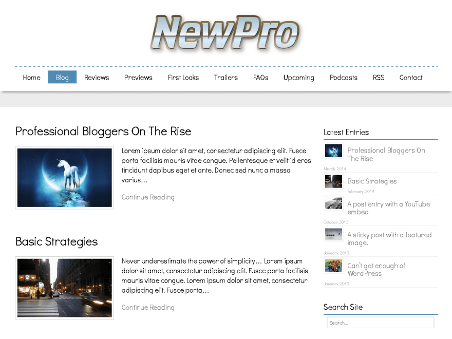 NewPro free wordpress theme