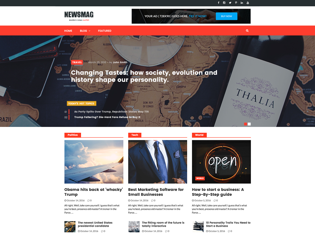 Editorial adalah tema WordPress responsif gratis yang cocok untuk situs editorial, majalah online dan situs surat kabar.