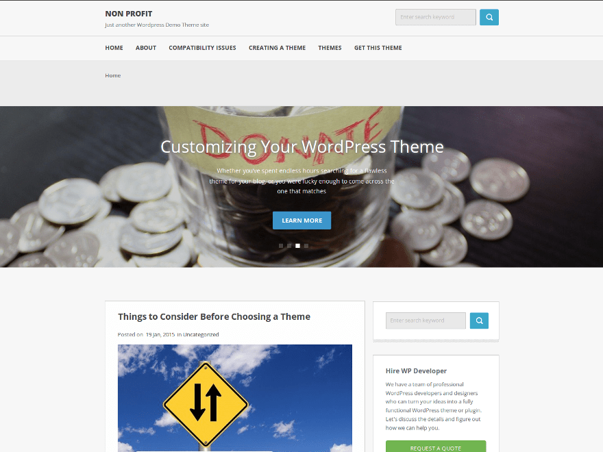 Non Profit free wordpress theme