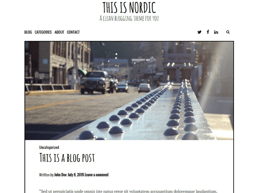 Nordic free wordpress theme