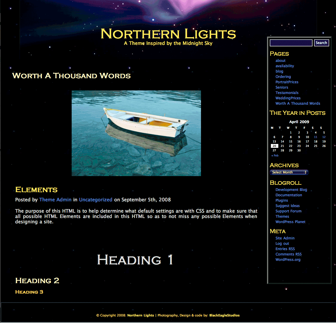 Northern Lights free wordpress theme