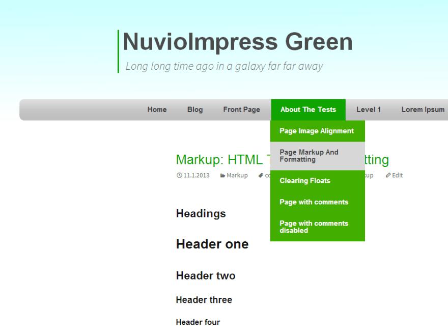NuvioImpress Green free wordpress theme