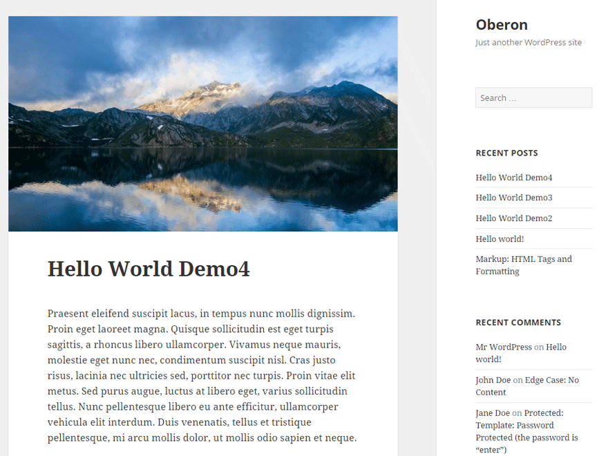 screenshot of oberon wordpress theme