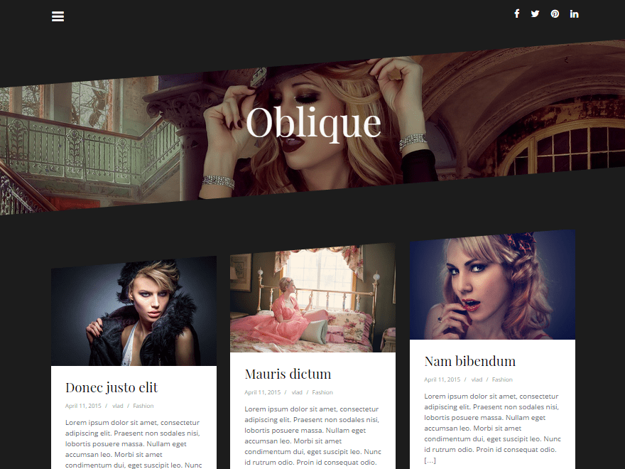 Oblique free wordpress theme