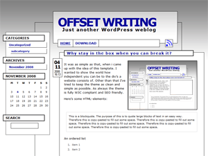Offset Writing free wordpress theme
