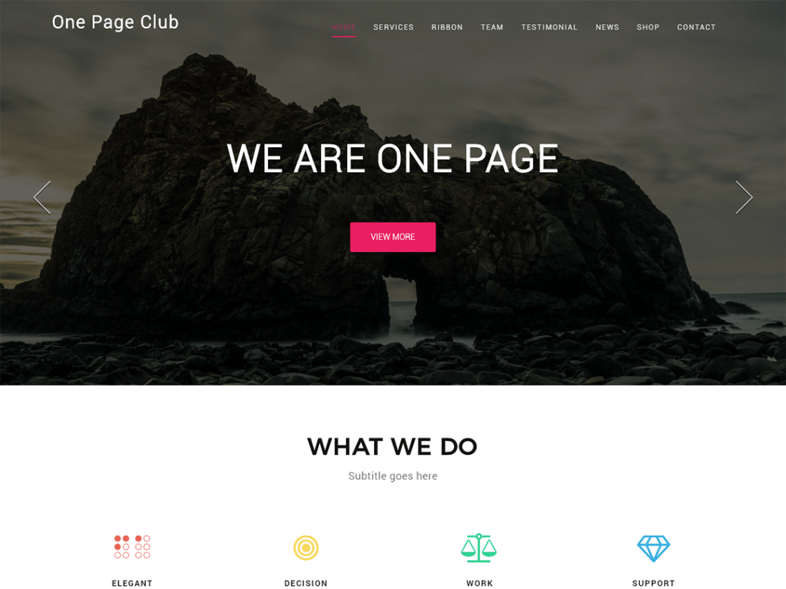 One Page Club Theme Free Download