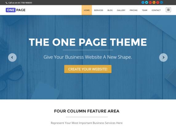 one page wordpress site