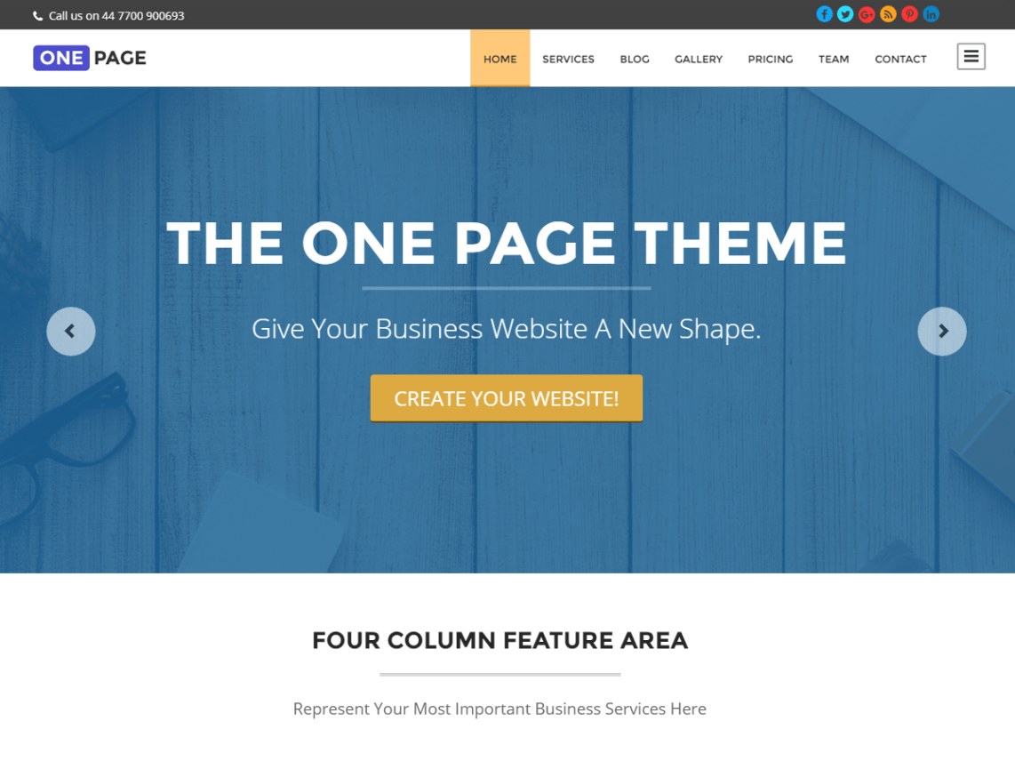 One Page — Free WordPress Themes