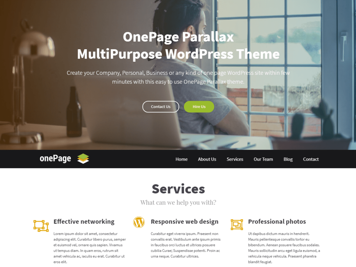 OnePage Parallax Theme Free Download