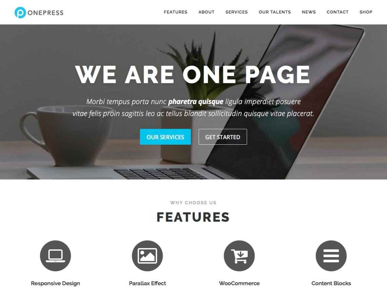 Free One Page WordPress Theme 2016 - OnePress