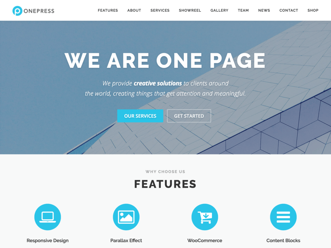 OnePress WordPress theme by FameThemes