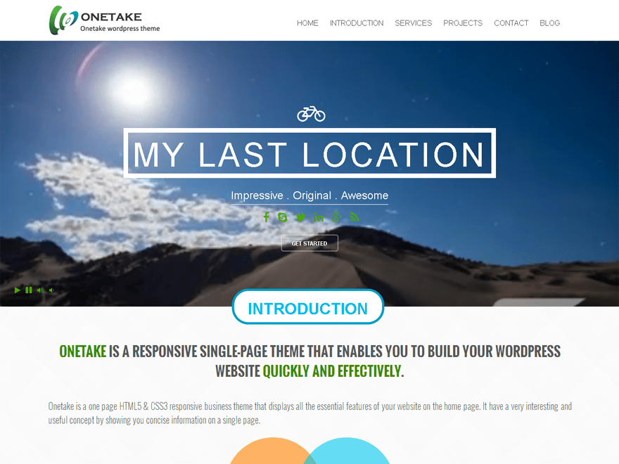 Onetake free wordpress theme