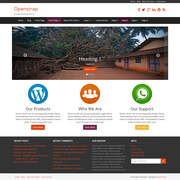 Openstrap free wordpress theme