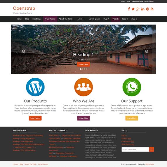 Openstrap wordpress theme
