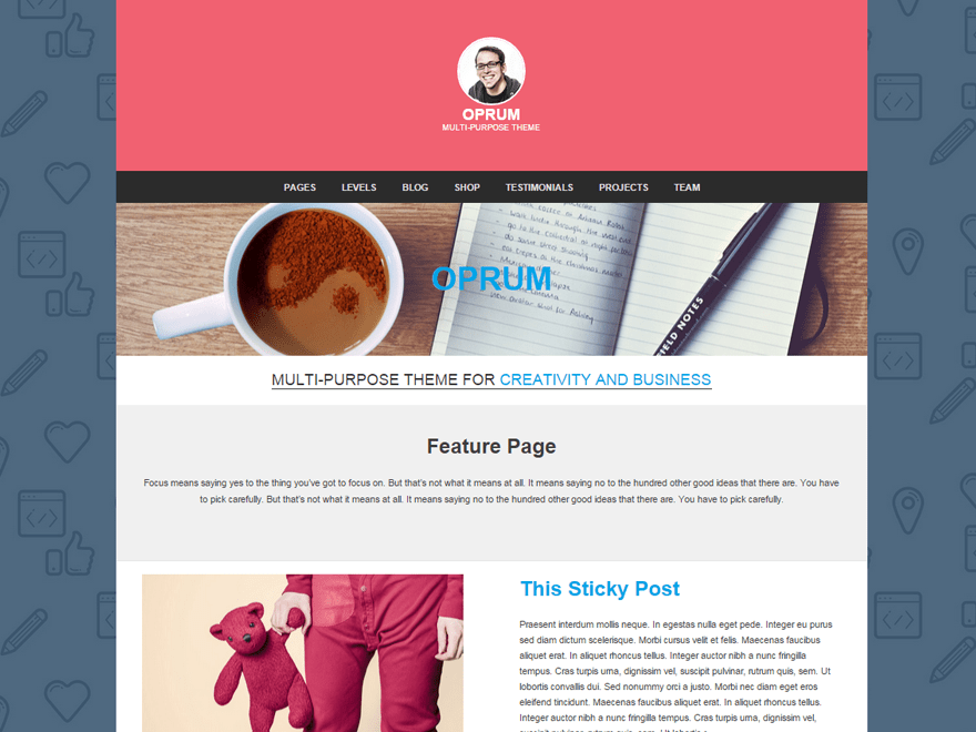 Oprum free wordpress theme
