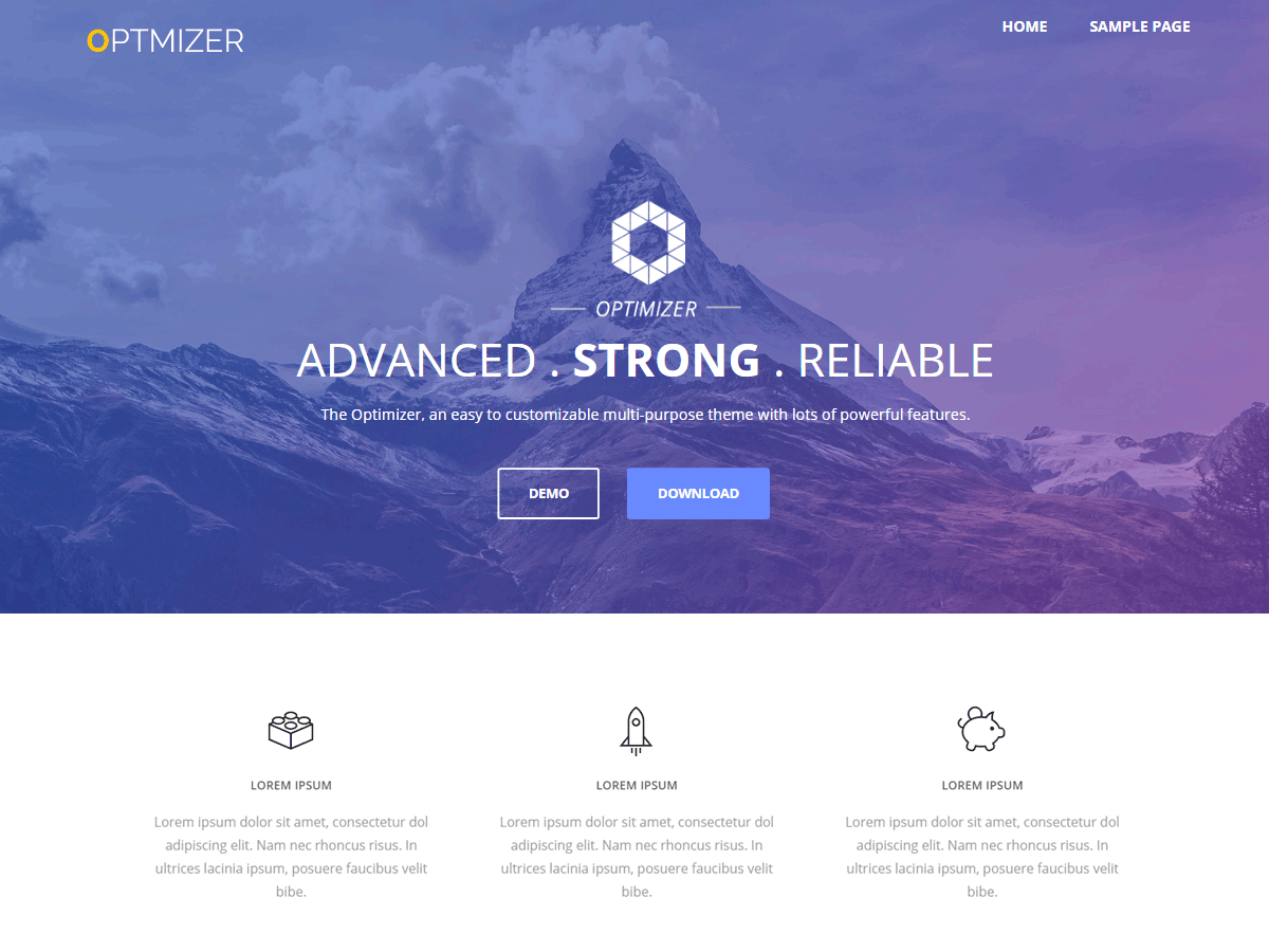 WordPress тема: Optimizer
