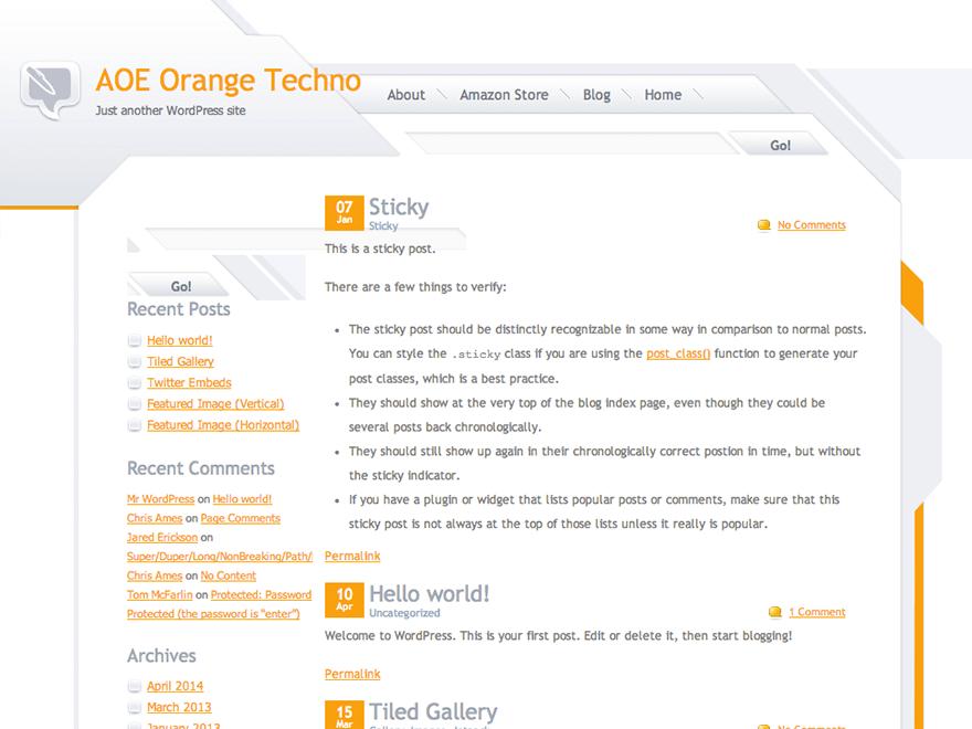 Orange Techno free wordpress theme