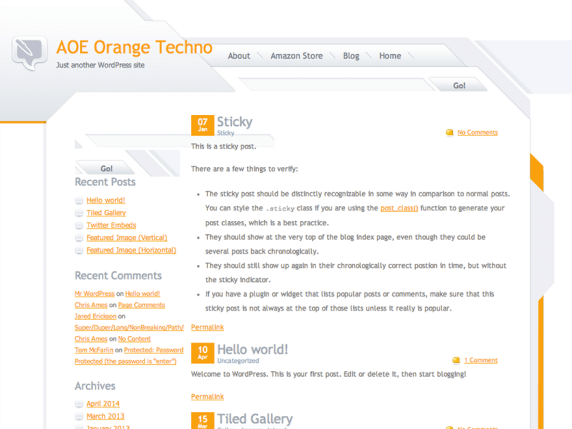Orange Techno wordpress theme