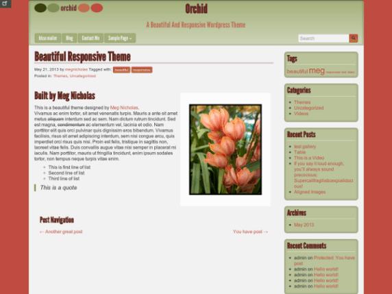Orchid wordpress theme