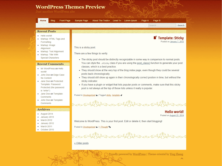 oriental free wordpress theme