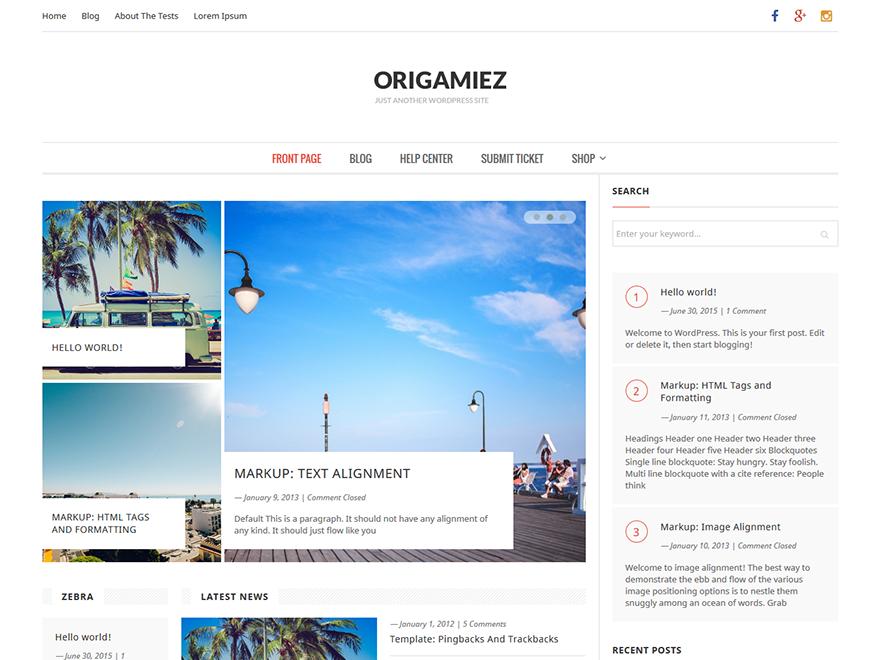 Origamiez free wordpress theme