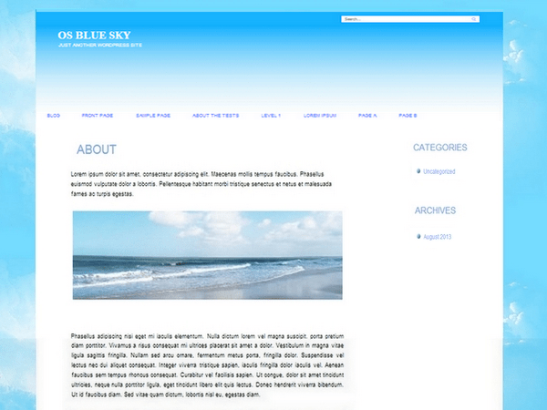 OS Blue sky free wordpress theme