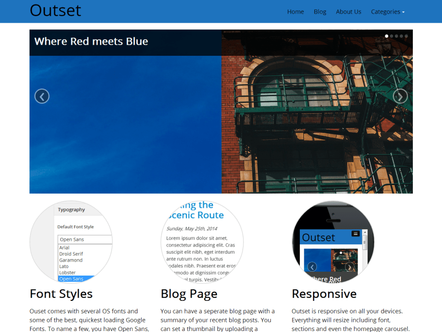 Outset free wordpress theme