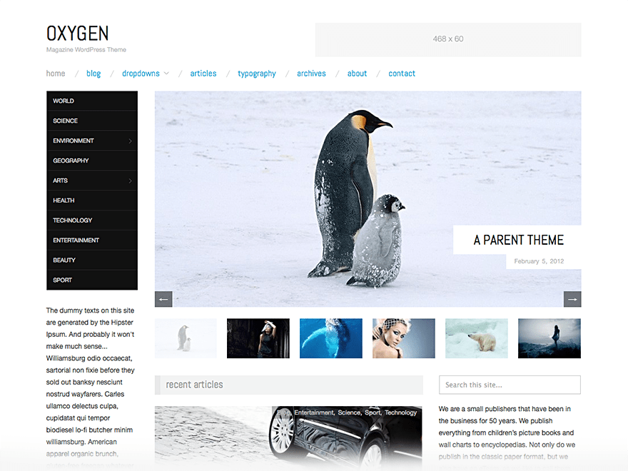 Oxygen free wordpress theme