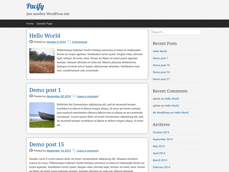 pacify free wordpress theme