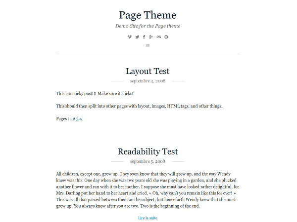 Page free wordpress theme