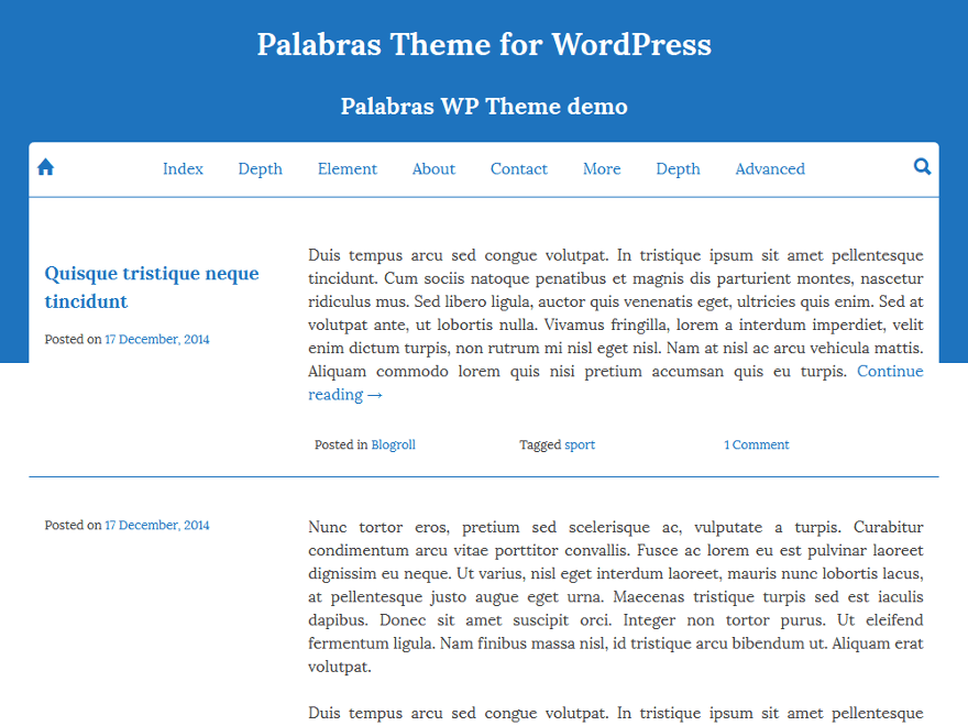 palabras free wordpress theme