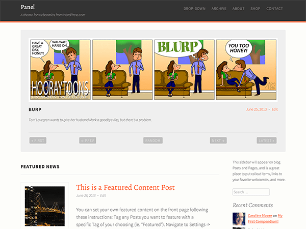 Panel free wordpress theme