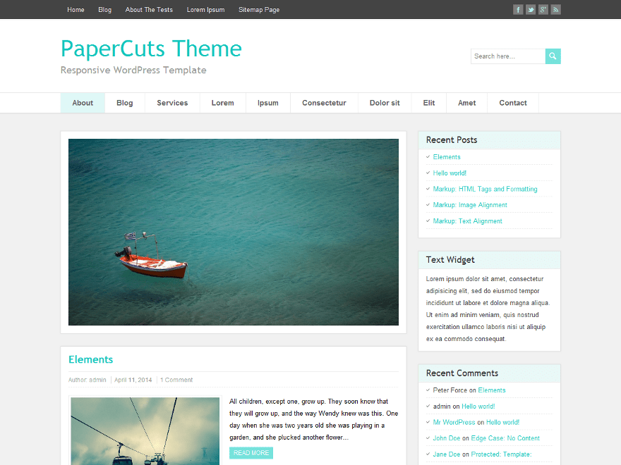 PaperCuts free wordpress theme