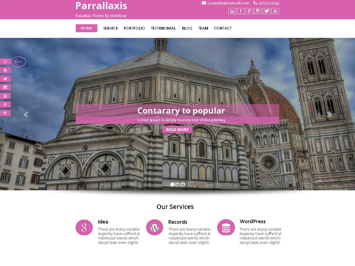 parallaxis free wordpress theme